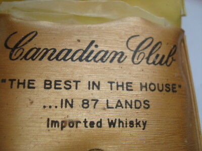 Vintage Canadian Club Best in House 87 Lands Imported Whiskey shower cap pouch