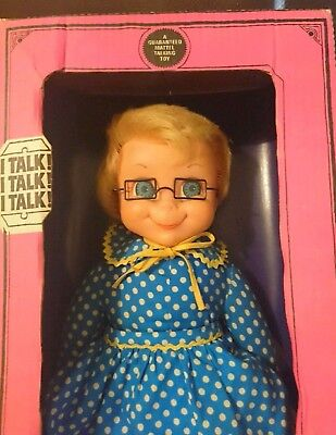 """22"""" Mrs Beasley in box with glasses 1960's A FAMILY AFFAIR doll Mattel ANTIQUE"""