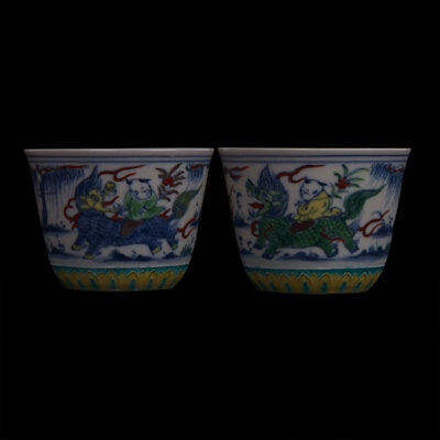 Pairs Of Exquisite Antique Chinese Glazed Porcelain Cup Marks ChengHua