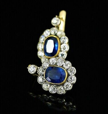 FABERGE Antique Russian Sapphire and Diamonds Cluster Earrings, Moscow 1908-1917