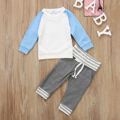 Toddler Baby Boys Stripe Hoodie Tops Pants Home Outfits Set Clothes 2Pcs Set