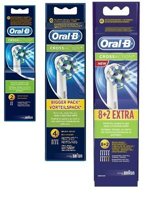2, 4 or 10pk Oral B CrossAction Electric Toothbrush Heads Cross Action Genuine