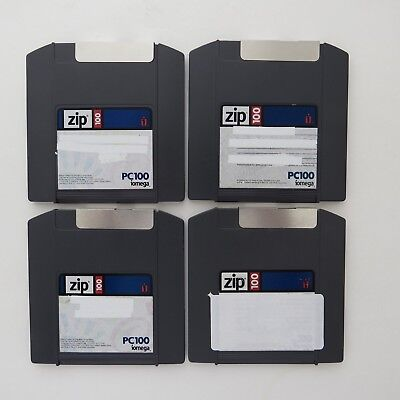 Four 100MB Iomega Zip Disks With Cases