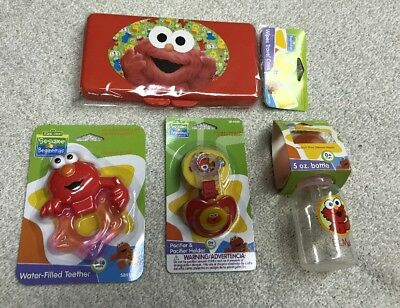 NEW~ Elmo, Sesame Street 9 oz Baby Bottle, Pacifier & Holder BPA Free