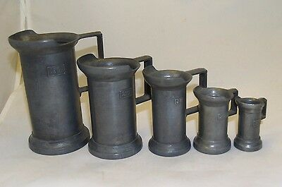 Antique Vtg Peltrato 95% Italian Pewter Measuring Cups Tankards (5) w/Handle