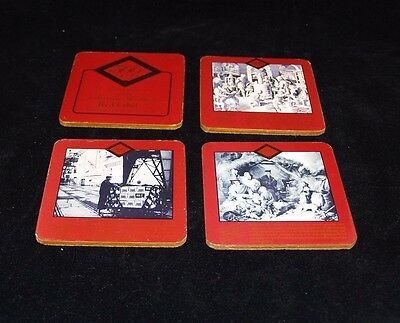 Johnnie Walker Red Label Vtg 4 Cork Coasters 500 Years Distilling Scotland #1