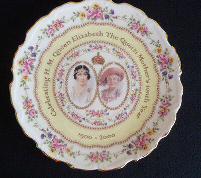 Royal Albert Bone China Commemorative Plate Queen Mother 100th Year 2000 Boxed
