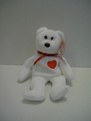 TY Beanie Baby VALENTINO BEAR with 2 tag errors Beanbag Plush Stuffed Toy