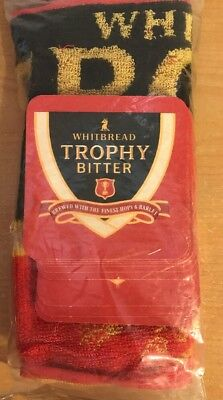 Whitebread Trophy Bitter Pub Bar Set, Bar Towel & 10 Coasters, New In Package