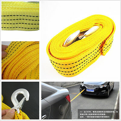 Tow Towing Rope Strap heavy duty steel hooks 3000KG 3T 3.6M Recovery Car Van 4x4