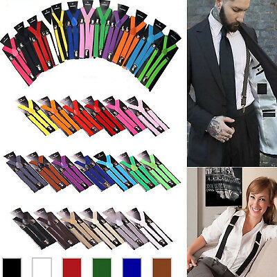 New Men Women Clip-on Suspenders Elastic Y-Shape Adjustable Braces Solids US
