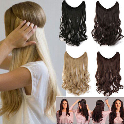 100% Natural Hair Hidden Wire Headband No Clip in Hair Extensions Straight YL61