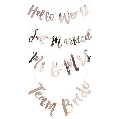 Just Married Mr&Mrs Team Bride Paper Letters String Flag Wedding Parties Decor