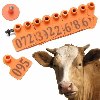1-100 ID Animal Sheep Cattle Livestock Ear Tags Lables Marking Plier Applicator