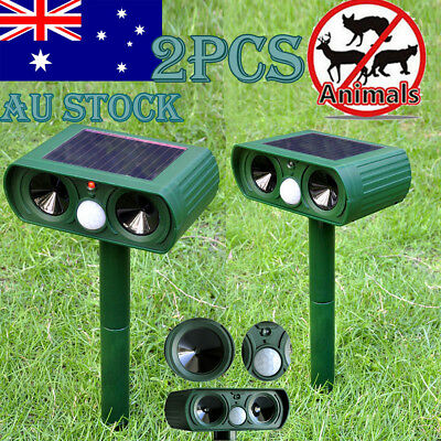 2X Outdoor Garden Solar Ultrasonic Pest Animal Bird Cat Dog Repeller Repellent
