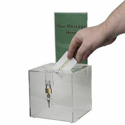 6x6 Acrylic Donation Box with Lock and Sign Holder For Voting, Charity, Ballot