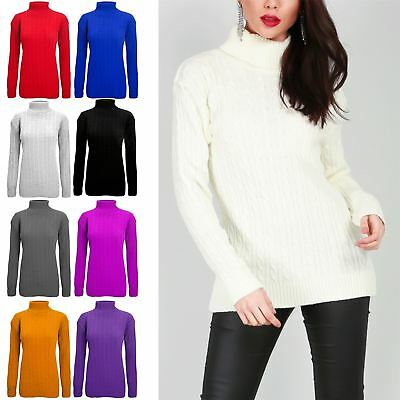 Womens Ladies Polo Turtle High Neck Chunky Cable Knitted Pullover Long Jumper