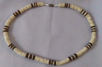 "1970s Vintage Hawaiian Two Tone Genuine PUKA SHELL Surfer 18"" Choker Necklace"