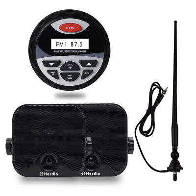 "Marine Radio Bluetooth Stereo Mp3 /USB/AUX+4"" Car Speaker Outdoor+FM AM Antenna"