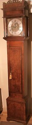 "Antique  Slim Walnut  Brass Dial  ""plymouth""   Longcase / Grandfather Clock"