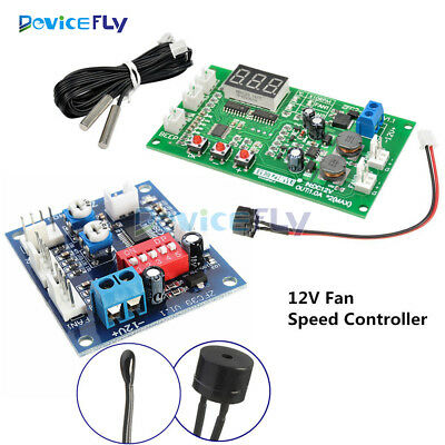12V Dual Ways / PWM PC CPU Fan Digital Temperature Control Speed Controller