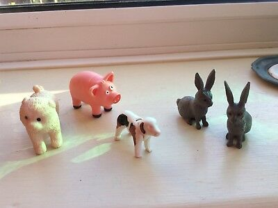 Mixed Toy Farm animals. Two rabbits, pig and two dogs.Good con