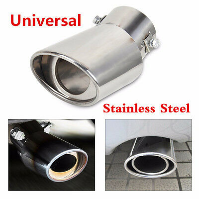 Stainless Steel Round Bend Exhaust Tail Tip Muffler Pipe Chrome Pipe Universal