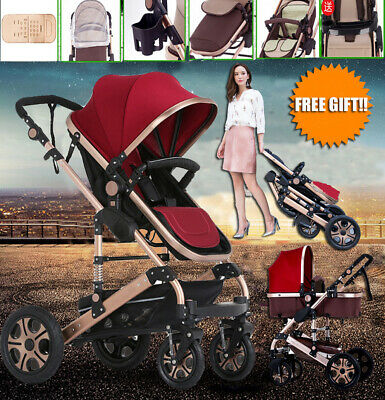 New Baby Stroller 8 in 1 High View Pram With Bassinet Folding Baby Carriage