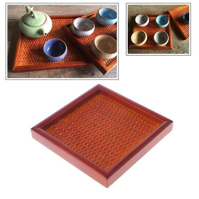Square Antique Rattan Tea Tray Storage Coffee Dish Teapot Wooden Container