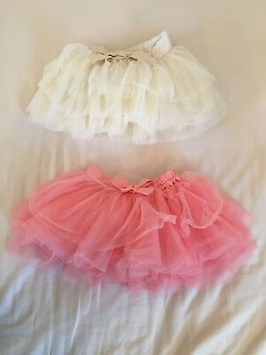 12-18 Months Baby Girls Tutu Clothes Bundle Skirt Pink Ivory Cream