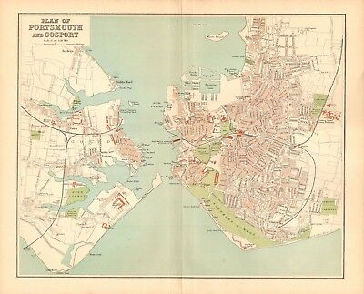 1895 Antique County Map- Plan Of Portsmouth And Gosport