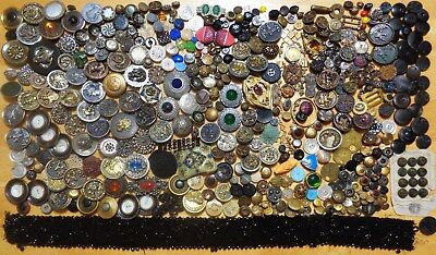 Huge Lot Antique Victorian Edwardian Deco Buttons Buckles Jewelry Metal Glass