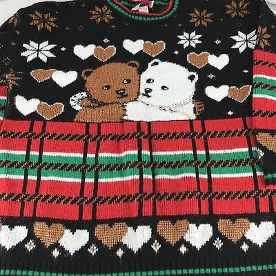 Vtg 80s Ugly Christmas Sweater Women's OS Teddy Bear Snowflake Black Made in USA