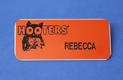 Hooters Girl Rebecca Orange Name Tag (Pin)
