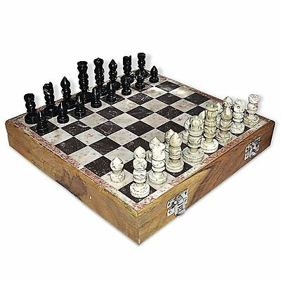 """2pc 10 X 10"""" Inches Handmade Marble Soap stone Wooden Chess Pieces And Board Set"""