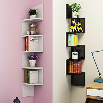 5 Tier Corner Shelf Floating Wall Shelves Storage Display Books Home Decoration