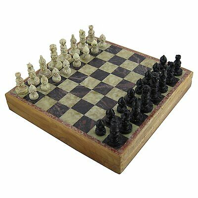 """2Pcs 6"""" X 6"""" Inches Handmade Marble Soap stone Wooden Chess Pieces And Board Set"""
