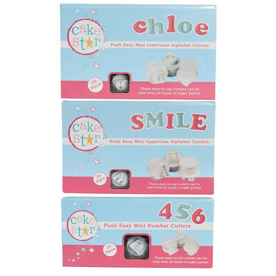 Cake Star Push Easy Mini Icing Cutters Upper / Lower Alphabet and Numbers Set