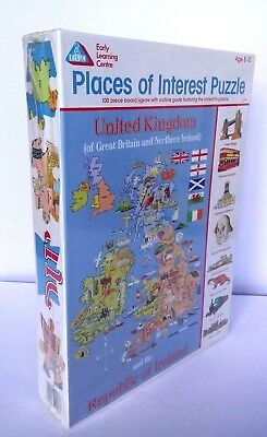 Rare elc world map jigsaw puzzle my first world map 100 elc places of interest jigsaw puzzle uk ireland map 100 pieces new sealed gumiabroncs Images