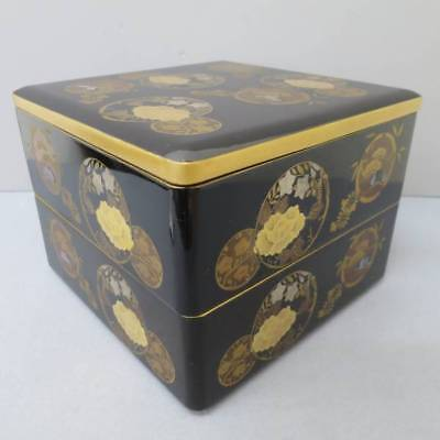 Black Lacquered Polished Shell Raden Makie Jubako Japanese Traditional Food Box