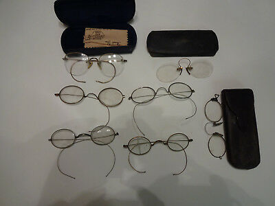 Lot of 7 Antique Reading Glasses W&Y Gold Filled Steampunk Pince Nez NO RESERVE