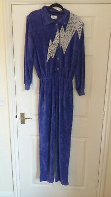 vintage retro Apollo Sport Jumpsuit 80s velour lounge suit all in one purple