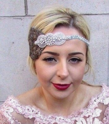 Silver Pheasant Feather Headpiece 1920s Headband Flapper Gatsby Art Deco 4715