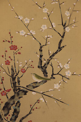 """JAPANESE HANGING SCROLL ART Painting """"Bird and Flower"""" Asian antique  #E8891"""