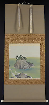 JAPANESE HANGING SCROLL ART Painting Scenery Asian antique  #E8893