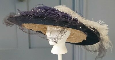Fabulous 1910 / Edwardian Wide Hat With Ostrich Feathers - Antique Fashion