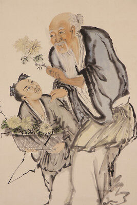 CHINESE HANGING SCROLL ART Painting  Asian antique  #E8884