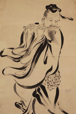 """JAPANESE HANGING SCROLL ART Painting """"Chinese Wiseman"""" Asian antique  #E8897"""