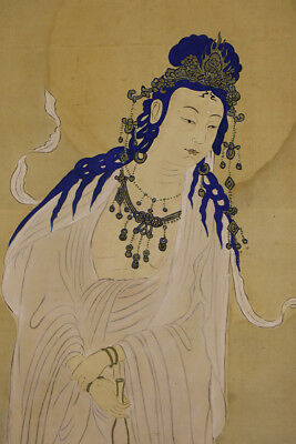 """JAPANESE HANGING SCROLL ART Painting """"Kannon"""" Asian antique  #E8899"""