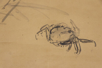 """JAPANESE HANGING SCROLL ART Painting """"Crab"""" Asian antique  #E8911"""